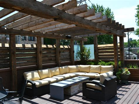 rustic pergola  shade  yellow outdoor sectional