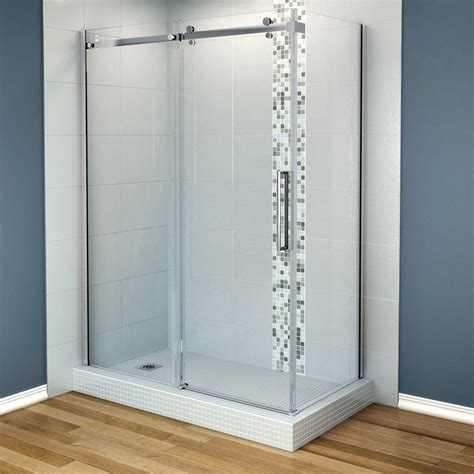 How To Install Maax Shower Door Maax Halo 60 In X 31 7 8 In Frameless Corner Shower Enclosure In Chrome 105945 900 084 100