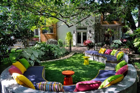 colorful backyard ideas colorful backyard adorned with custom curvilinear seating