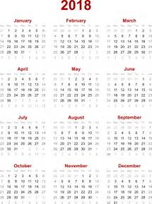 Calendar 2018 Large 2018 Calendar Vector Clip