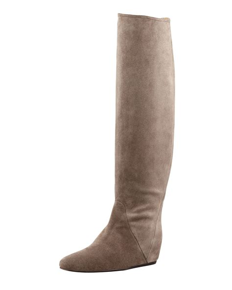lanvin wedge suede pullon boot gray in brown lyst