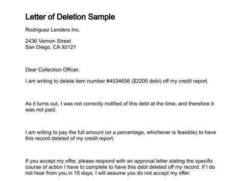 Credit Deletion Letter Template Pay For Delete Letter Russianbridesglobal