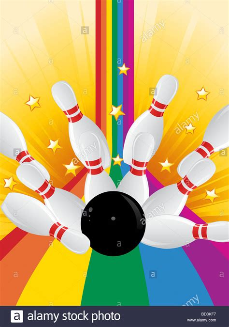 bowling background bowling knocking bowling pins on a rainbow
