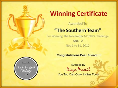 winner certificate template my healthy happy kitchen award time