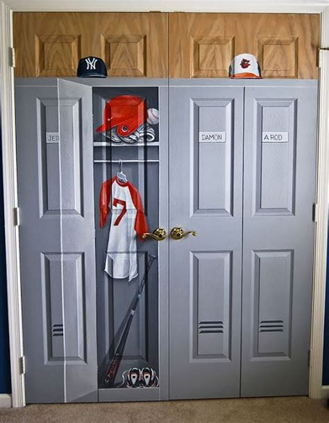 boys room closet painted to look like locker for sports