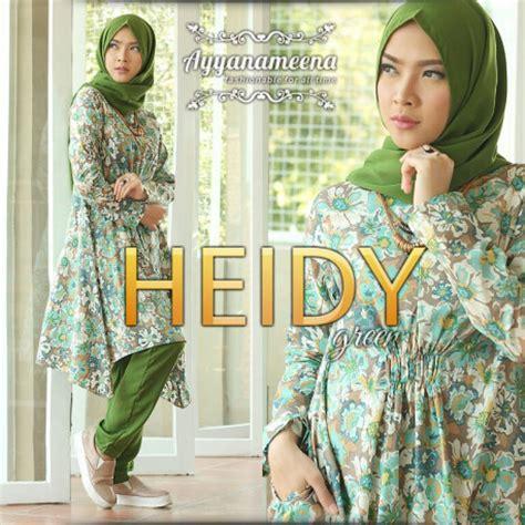 Tunik Heidy heidy green baju muslim gamis modern
