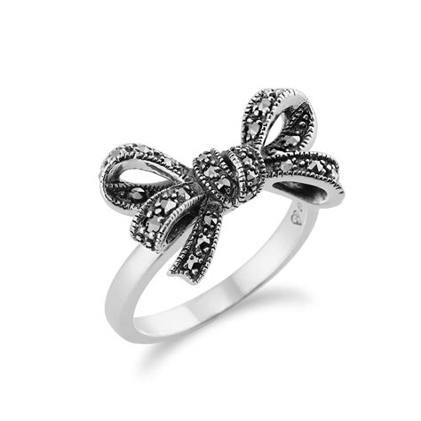 925 sterling silver 0 32ct marcasite set ribbon ring