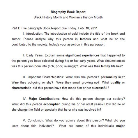 biography and autobiography for middle school book report templates for middle school 6 middle school