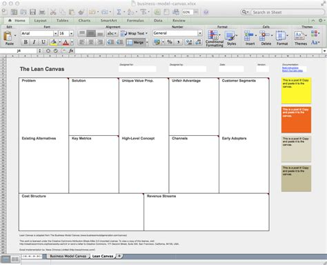 excel business model template business model canvas and lean canvas templates neos chonos
