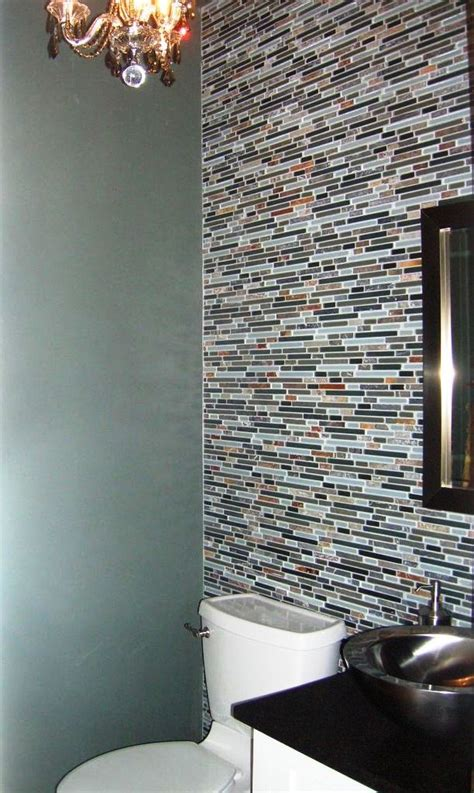 powder room accent wall ideas powder room with mosaic tile accent wall powder room