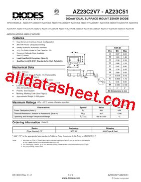 diodes inc bav99 7 f az23c5v6 7 f データシート pdf diodes incorporated