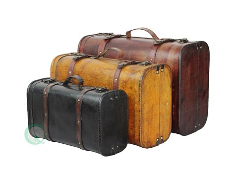 Koper Vintage Wood Retro Style Luggage Suitcase Bag Large Olb2252 vintiquewise tm 3 colored vintage style luggage suitcase trunk set of 3
