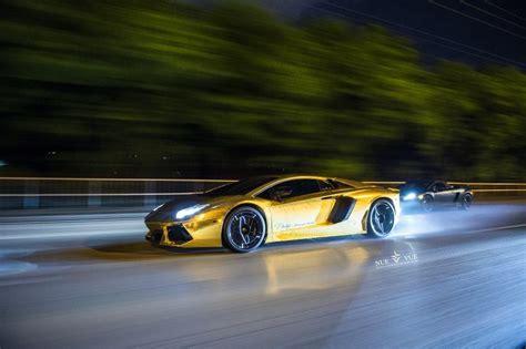 Gold Lamborghini Aventador Drifting [Video]