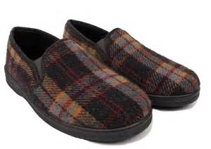 bedroom slippers mens mens tartan slippers slip on casual indoor house bedroom hard sole shoes size ebay