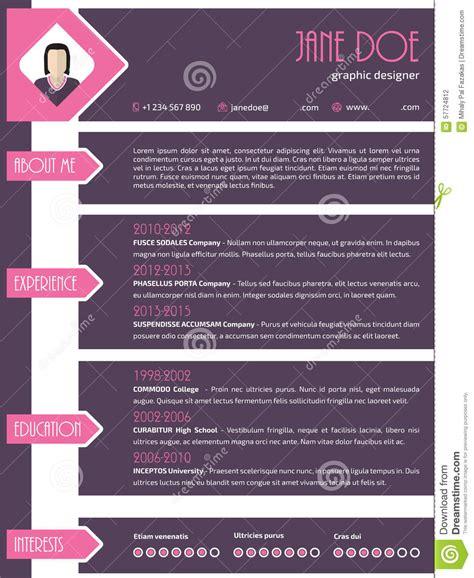 curriculum vitae straight line design templates modern resume cv template with photo arrows stock vector