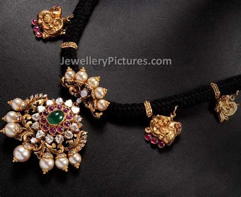 black necklace designs india nakshi black cord necklace jewellery designs