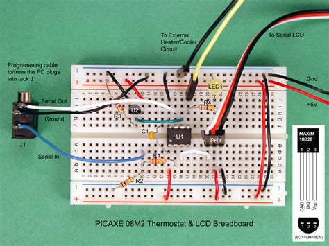 circuit breadboard projects how to build a thermostat with a picaxe
