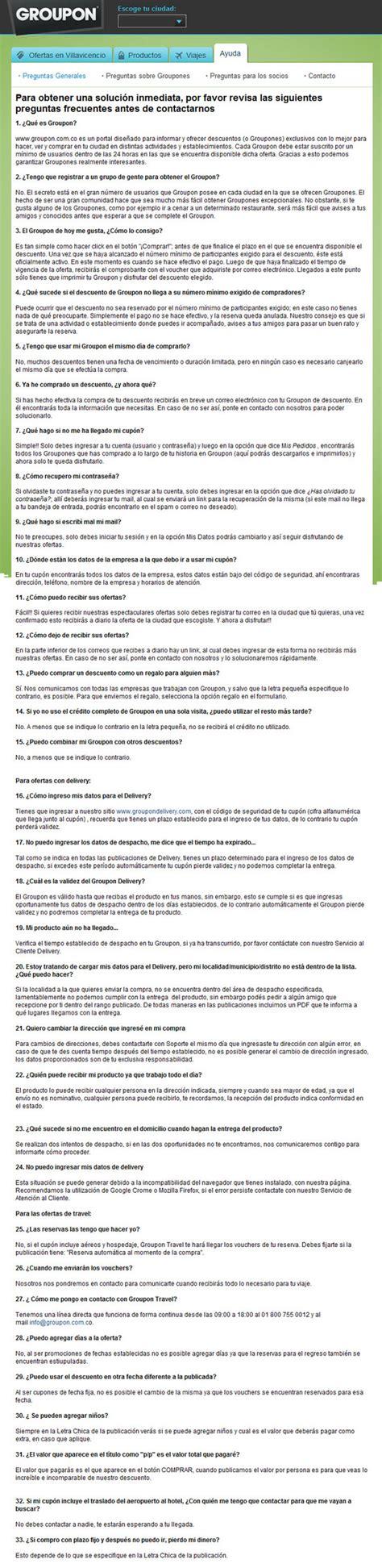 groupon colombia telefono groupon colombia ayuda - Preguntas Frecuentes Groupon
