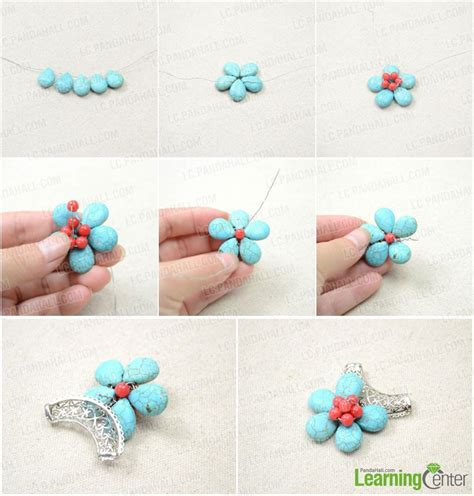 Handmade Jewellery Step By Step - handmade turquoise flower pendant necklace with wire