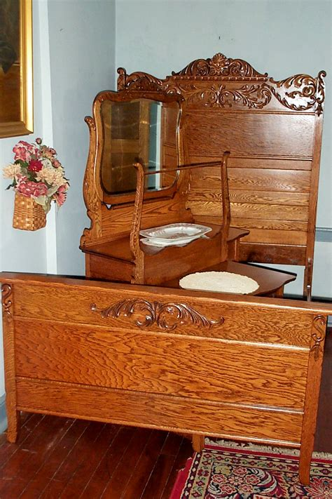 Three Piece Solid Oak Bedroom Set For Sale Antiques Wooden Bedroom Furniture Sale