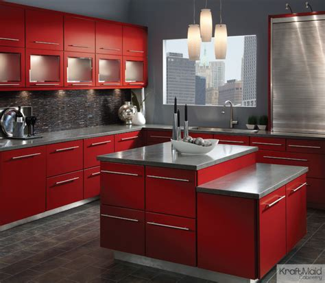 Kraftmaid Kitchen Cabinets Kraftmaid Maple Cabinetry In Cardinal Contemporary