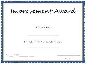 Most Improved Certificate Template by Improvement Award Certificate Template Sle Templates