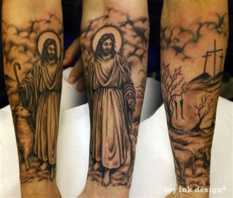 jesus tattoo on arm 30 christian tattoos on sleeve