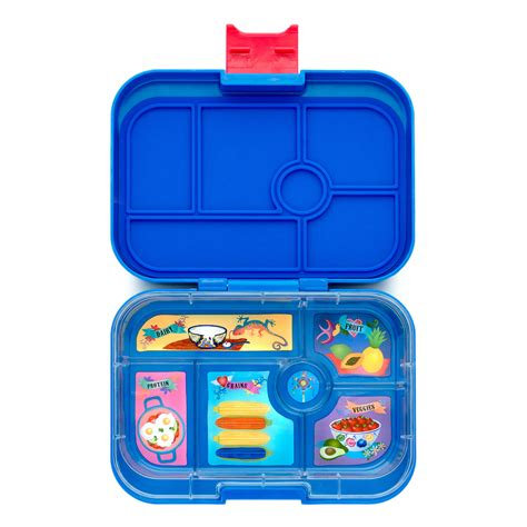 Lunch Box Blue yumbox lunch box in blue daisies and dinosaurs