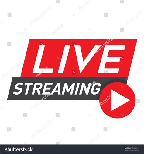 live streaming live streaming logo red vector design stock vector