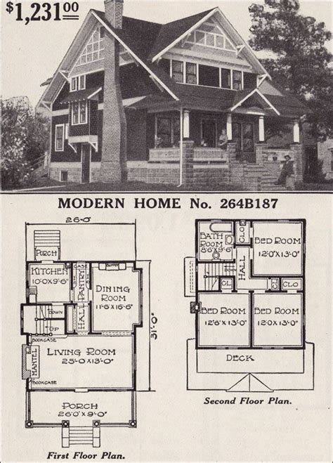 Half Timbered House Plans by Half Timbered Two Story Craftsman Style Bungalow 1916