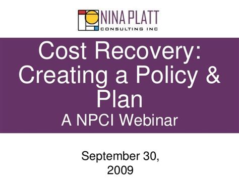 Recovering A Cost by Cost Recovery Policy And Plan