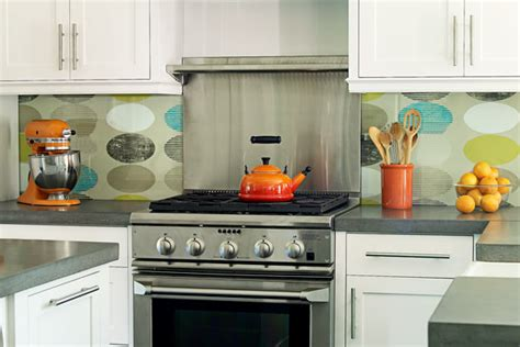 wall paper backsplash 4 wallpapered backsplash 11 ways to give your home a personal st this house