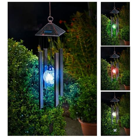 solar light wind chimes hanging colour changing solar powered wind chime light