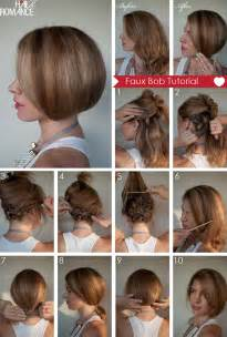 what of hair to use for a bob hair tutorial how to create a faux bob hair romance