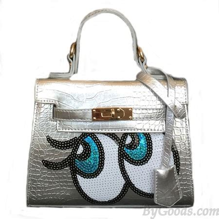 Black Crocodile Grain Shoulder Bag by Shining Sequin Big Handbag Crocodile Grain Shoulder