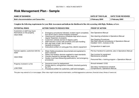risk management plan exle template newsletter template