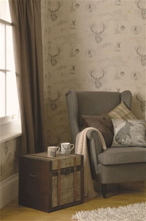 Rustic Livingroom Furniture by Details About Quirky Highland Tartan Stag Tweed Knit