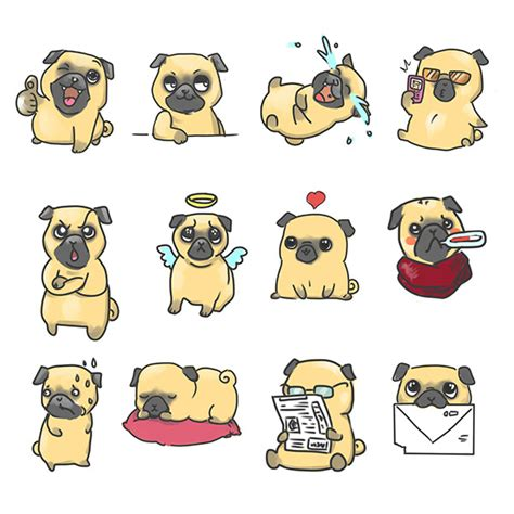 pug sticker pug stickers in process on behance