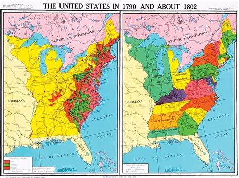 map of the united states history us history united states in 1790 and about 1802 u s