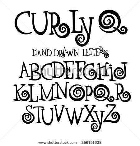 printable curly fonts curly q hand drawn font alphabet stock vector 256151938