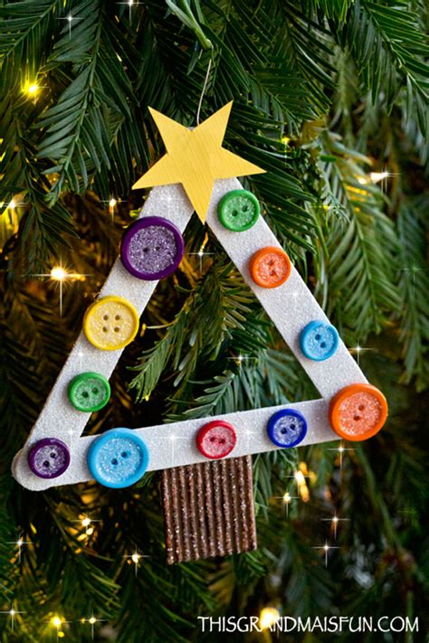 diy kids craft stick christmas tree ornament tgif this