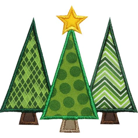 three christmas trees applique design