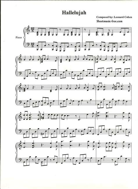 printable lyrics hallelujah hallelujah piano sheet music leonard cohen piano sheet