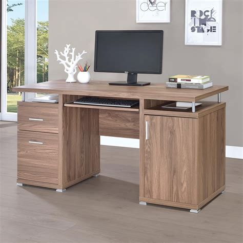 coaster 801280 computer desk with 2 drawers and cabinet