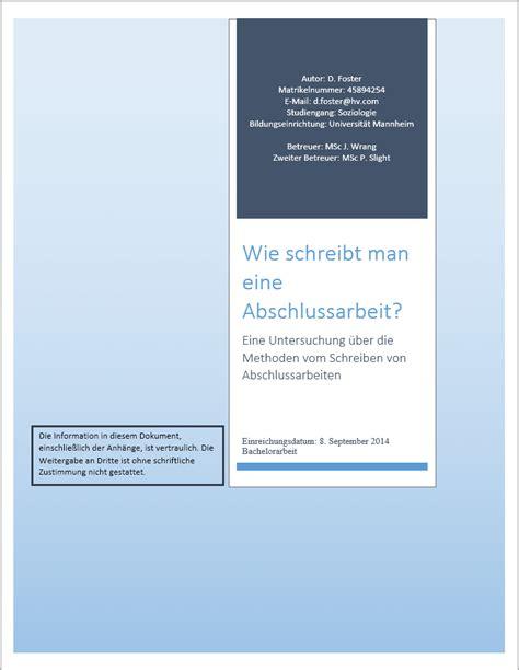 Vorlage Word Abschlussarbeit Informationsblatt Einer Abschlussarbeit
