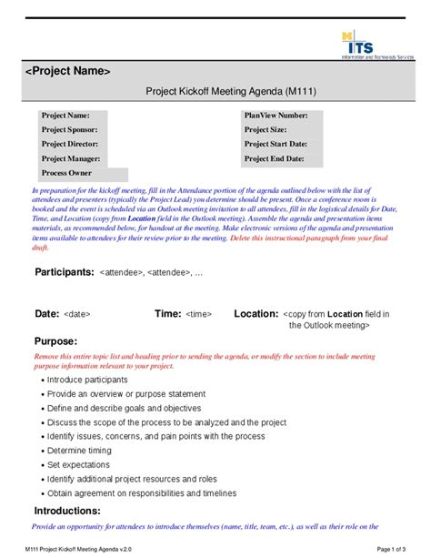 kick meeting agenda template kick meeting invitation email sle