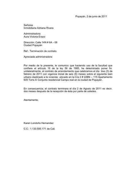 modelo carta terminacion contrato periodo prueba carta terminacion contrato inmobiliaria