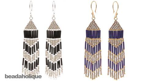 how to make beaded fringe earrings how to make brick stitch and fringe beaded earrings