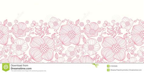 flowers seamless pattern element vector background red line art flowers horizontal seamless pattern royalty