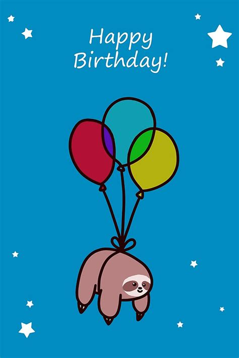 Sloth Birthday Cards Quot Happy Birthday Balloon Sloth Quot Greeting Cards By